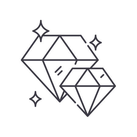 Diamond image icon, linear isolated illustration, thin line vector, web design sign, outline concept symbol with editable stroke on white background.