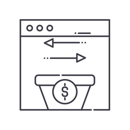 Data transaction icon, linear isolated illustration, thin line vector, web design sign, outline concept symbol with editable stroke on white background.