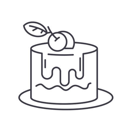 Dessert icon, linear isolated illustration, thin line vector, web design sign, outline concept symbol with editable stroke on white background.