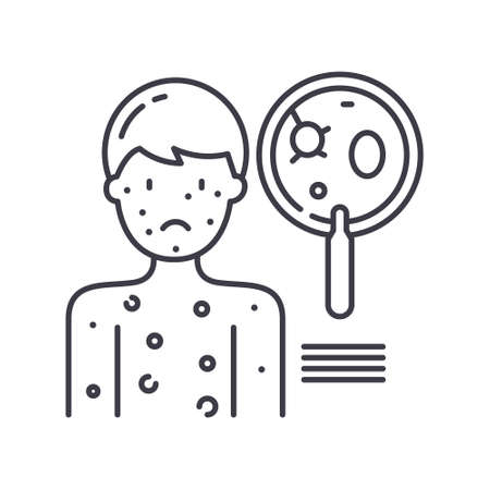 Dermatology icon, linear isolated illustration, thin line vector, web design sign, outline concept symbol with editable stroke on white background. Illusztráció