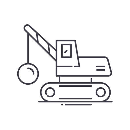 Demolition crane icon, linear isolated illustration, thin line vector, web design sign, outline concept symbol with editable stroke on white background. Stock Illustratie