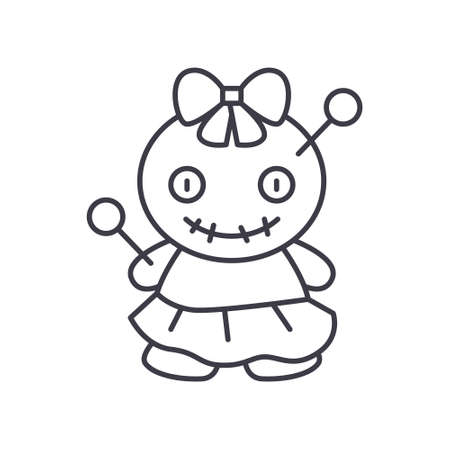Doll curse icon, linear isolated illustration, thin line vector, web design sign, outline concept symbol with editable stroke on white background. Иллюстрация
