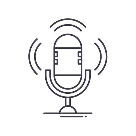 Podcast icon, linear isolated illustration, thin line vector, web design sign, outline concept symbol with editable stroke on white background.