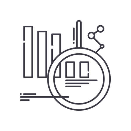 Market forecast image icon, linear isolated illustration, thin line vector, web design sign, outline concept symbol with editable stroke on white background. 向量圖像