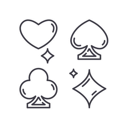 Poker icon, linear isolated illustration, thin line vector, web design sign, outline concept symbol with editable stroke on white background. 矢量图像
