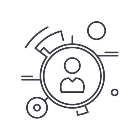 Personal features icon, linear isolated illustration, thin line vector, web design sign, outline concept symbol with editable stroke on white background. Stock Illustratie
