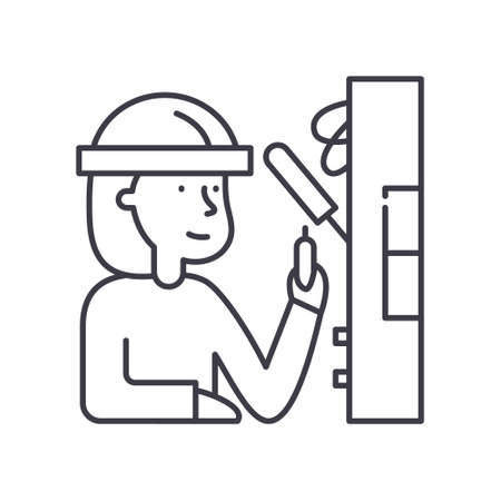 Electrician icon, linear isolated illustration, thin line vector, web design sign, outline concept symbol with editable stroke on white background.