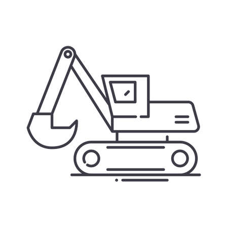 Excavator auger drive icon, linear isolated illustration, thin line vector, web design sign, outline concept symbol with editable stroke on white background.