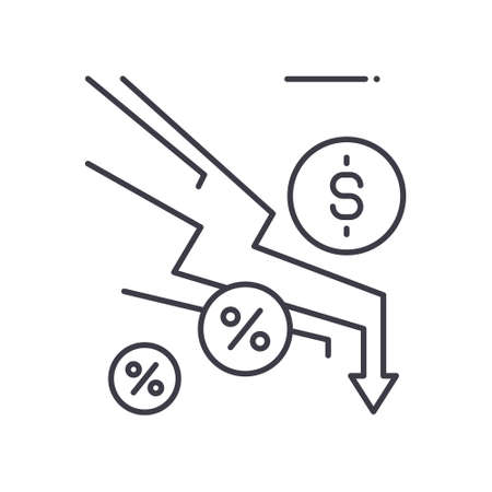 Economic depreciation icon, linear isolated illustration, thin line vector, web design sign, outline concept symbol with editable stroke on white background.