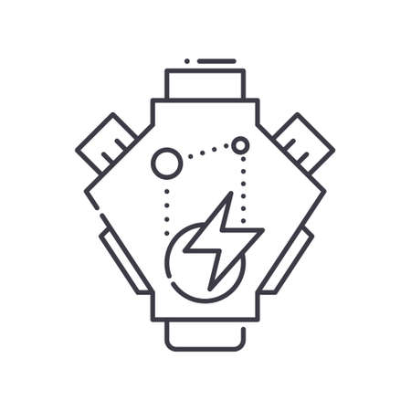 Engine turnup icon, linear isolated illustration, thin line vector, web design sign, outline concept symbol with editable stroke on white background.