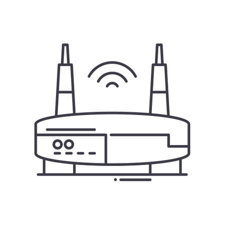 Wi fi router icon, linear isolated illustration, thin line vector, web design sign, outline concept symbol with editable stroke on white background. 矢量图像