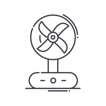 Fan icon, linear isolated illustration, thin line vector, web design sign, outline concept symbol with editable stroke on white background. Stock Illustratie