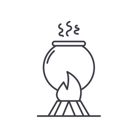 Fire cooking icon, linear isolated illustration, thin line vector, web design sign, outline concept symbol with editable stroke on white background.
