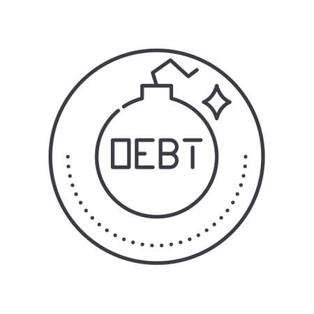 Financial debt icon, linear isolated illustration, thin line vector, web design sign, outline concept symbol with editable stroke on white background.