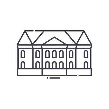 French villa icon, linear isolated illustration, thin line vector, web design sign, outline concept symbol with editable stroke on white background.
