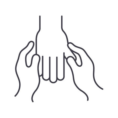 Hand treatment icon, linear isolated illustration, thin line vector, web design sign, outline concept symbol with editable stroke on white background.