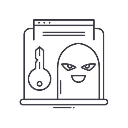 Hacker concept icon, linear isolated illustration, thin line vector, web design sign, outline concept symbol with editable stroke on white background.