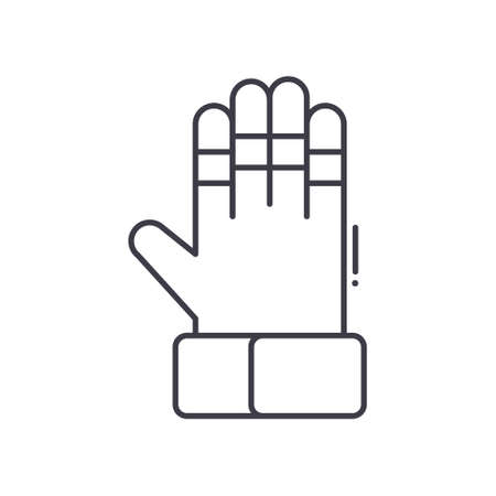 Goalkeepers gloves icon, linear isolated illustration, thin line vector, web design sign, outline concept symbol with editable stroke on white background.