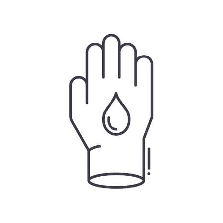 Glove concept icon, linear isolated illustration, thin line vector, web design sign, outline concept symbol with editable stroke on white background.