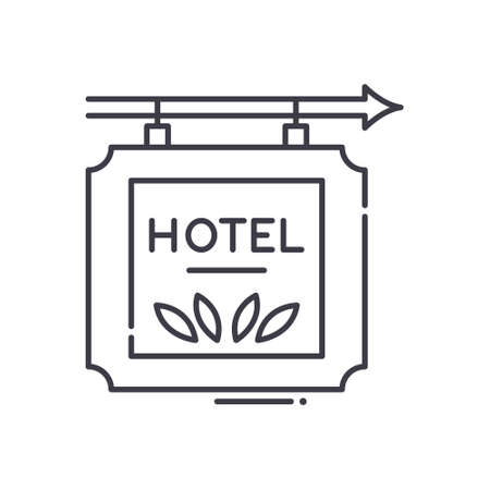 Hotel direction icon, linear isolated illustration, thin line vector, web design sign, outline concept symbol with editable stroke on white background.