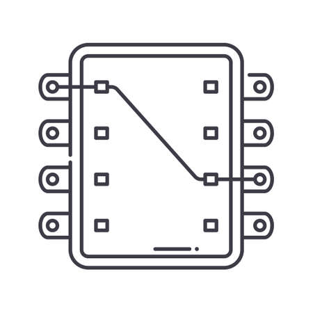 Ic socket icon, linear isolated illustration, thin line vector, web design sign, outline concept symbol with editable stroke on white background.