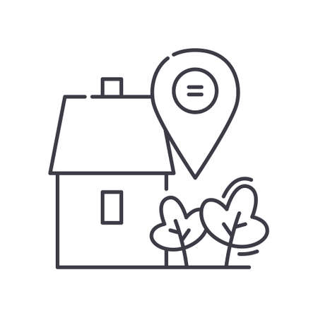 Home position icon, linear isolated illustration, thin line vector, web design sign, outline concept symbol with editable stroke on white background. 向量圖像