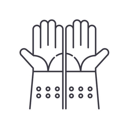 Gloves icon, linear isolated illustration, thin line vector, web design sign, outline concept symbol with editable stroke on white background. 矢量图像