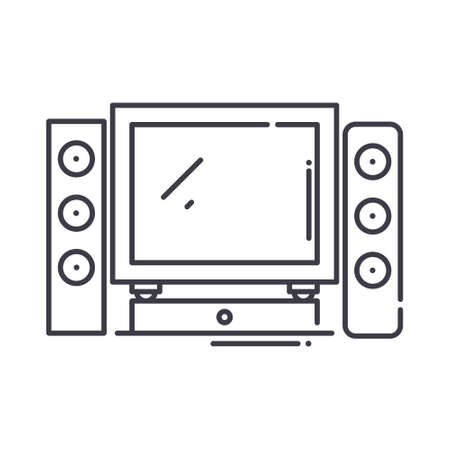 Home cinema theater icon, linear isolated illustration, thin line vector, web design sign, outline concept symbol with editable stroke on white background.