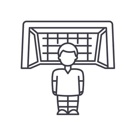 Goaltender icon, linear isolated illustration, thin line vector, web design sign, outline concept symbol with editable stroke on white background. 矢量图像