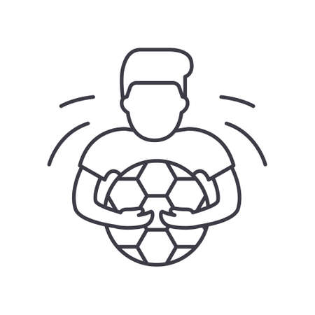 Goalkeeper icon, linear isolated illustration, thin line vector, web design sign, outline concept symbol with editable stroke on white background.