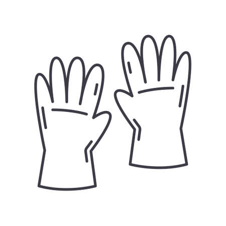 Gloves concept icon, linear isolated illustration, thin line vector, web design sign, outline concept symbol with editable stroke on white background.