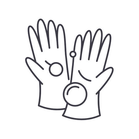 Glove icon, linear isolated illustration, thin line vector, web design sign, outline concept symbol with editable stroke on white background.