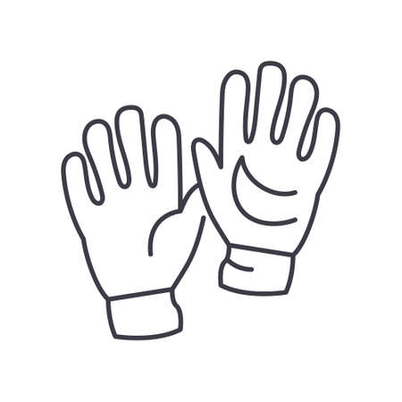 Goalkeeper gloves icon, linear isolated illustration, thin line vector, web design sign, outline concept symbol with editable stroke on white background.
