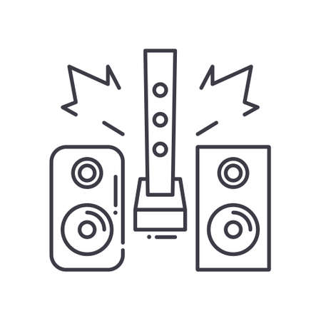 Hi fi audio system icon, linear isolated illustration, thin line vector, web design sign, outline concept symbol with editable stroke on white background.