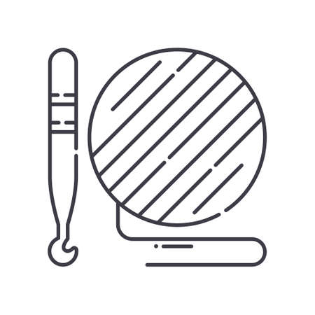 Hooks and yarn icon, linear isolated illustration, thin line vector, web design sign, outline concept symbol with editable stroke on white background.