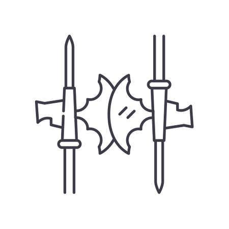 Medieval ax battle icon, linear isolated illustration, thin line vector, web design sign, outline concept symbol with editable stroke on white background.