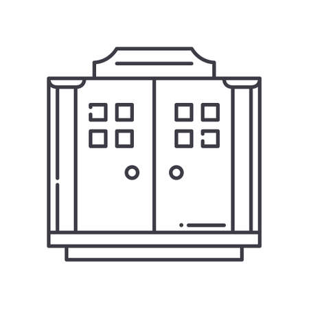 Musuem exit icon, linear isolated illustration, thin line vector, web design sign, outline concept symbol with editable stroke on white background. 矢量图像