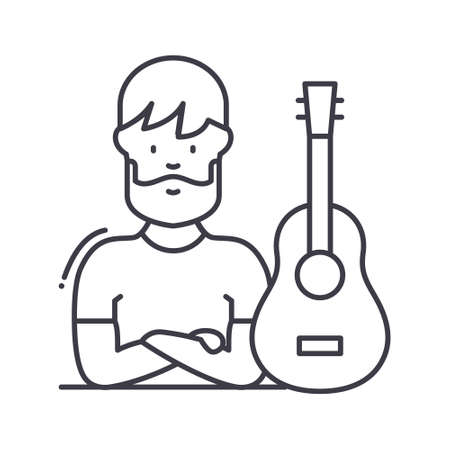 Musician icon, linear isolated illustration, thin line vector, web design sign, outline concept symbol with editable stroke on white background.