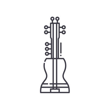 Musical instrument icon, linear isolated illustration, thin line vector, web design sign, outline concept symbol with editable stroke on white background. 矢量图像