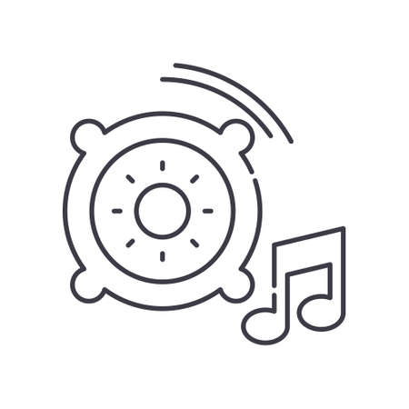 Music icon, linear isolated illustration, thin line vector, web design sign, outline concept symbol with editable stroke on white background.
