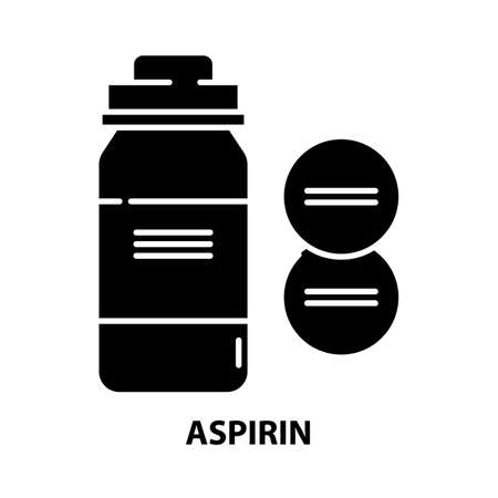 aspirin icon, black vector sign with editable strokes, concept illustration