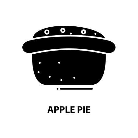 apple pie icon, black vector sign with editable strokes, concept illustration