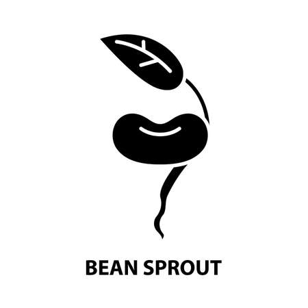 bean sprout icon, black vector sign with editable strokes, concept illustration