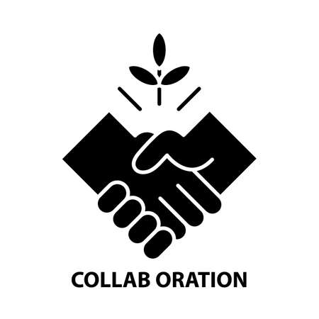 collab oration icon, black vector sign with editable strokes, concept illustration Illustration