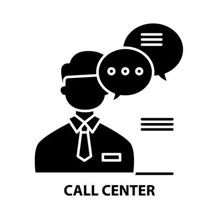 call center sign icon, black vector sign with editable strokes, concept illustration