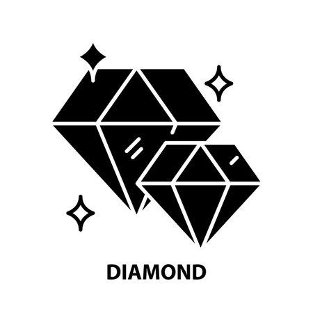diamond icon, black vector sign with editable strokes, concept illustration