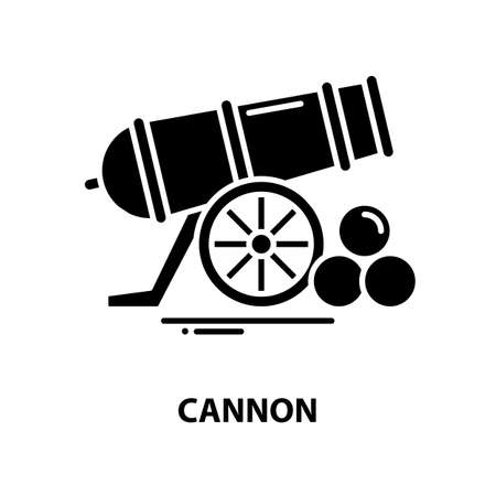 cannon symbol icon, black vector sign with editable strokes, concept illustration Vectores