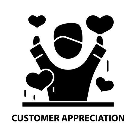customer appreciation icon, black vector sign with editable strokes, concept illustration