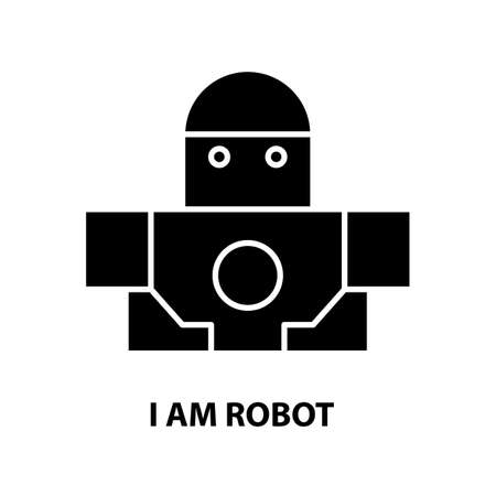 i am robot icon, black vector sign with editable strokes, concept illustration 矢量图片