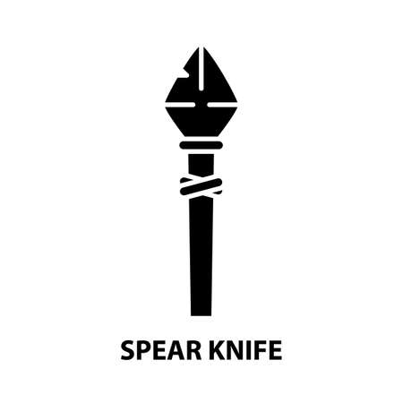 spear knife icon, black vector sign with editable strokes, concept illustration